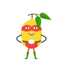 cartoon superhero character lemon flat design vector image