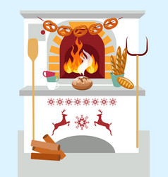 celebratory domestic cooking bread in oven in vector image