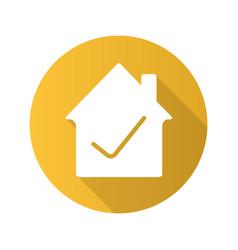 Checked house flat design long shadow glyph icon vector
