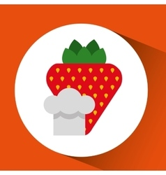 cheerful chef fresh strawberry graphic vector image