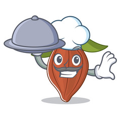 Chef with food cacao bean mascot cartoon vector
