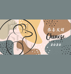 chinese new year 2020 rat on boho art banner vector image