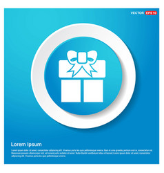 christmas gift box icon abstract blue web sticker vector image