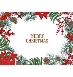 Christmas postcard template with frame or border vector