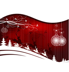 Christmas red background with santa claus vector
