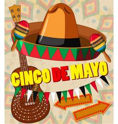 Cinco de mayo card template hat and guitar vector