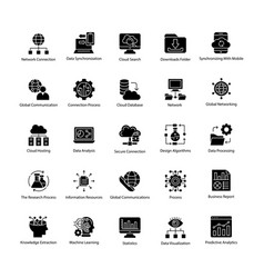 collection of data science glyph icons vector image
