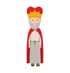 Colorful king with crown and gray beard vector