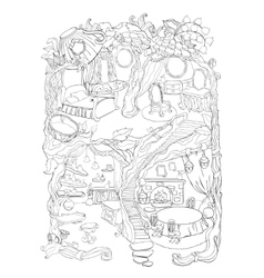 Colouring Page Of Fairy House vector