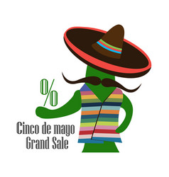 concept for sale at cinco de mayo cactus in the vector image