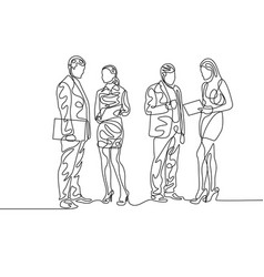 continuous one line two couples businesspeople vector image