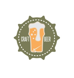 craft beer concept label with needle and thread vector image