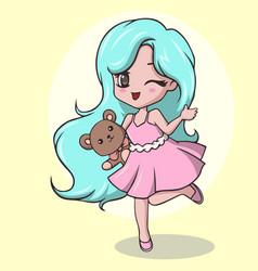 Cute little girl holding teddy bear and winking vector