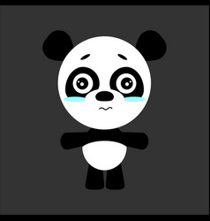 Cute panda cartoon sad character gray vector