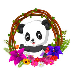 Cute panda in root of tree frame with flower vector
