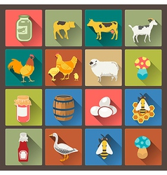 Farm icons in flat design style vector