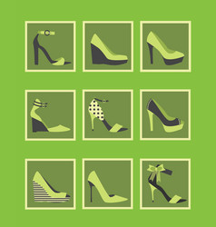 feminine green high heel shoes square icons set vector image