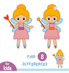 Find differences education game fairy vector
