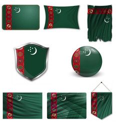 Flag turkmenistan as round glossy icon button vector
