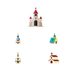 Flat icon building set of religion building vector