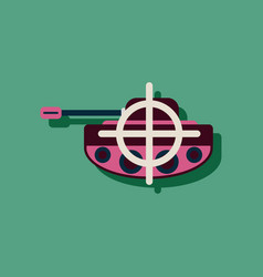 Flat icon design collection tank at gunpoint vector