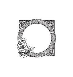 floral frame summer flower bouquet greeting card vector image