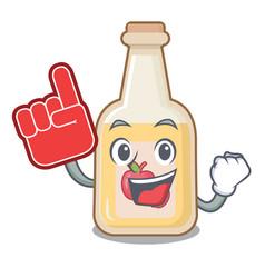 Foam finger bottle apple cider above cartoon table vector