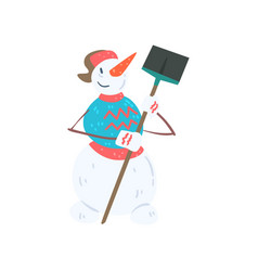 Funny cheerful snowman character with shovel vector
