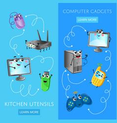 Funny computer gadgets banner set vector