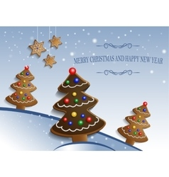 Ginger chocolate trees on snow background vector