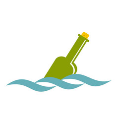glass green bottle in a water icon isolated vector image