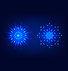 glowing neon snowflakes for new year and christmas vector image