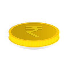 Gold coin with symbol of rupee rupiah vector