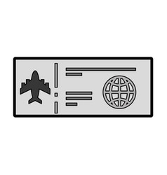 Grey airplane ticket cartoon vector