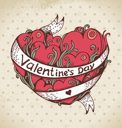 Hand drawn heart and vintage background vector image