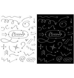 Handdrawn doodle arrows line icon set hand drawn vector