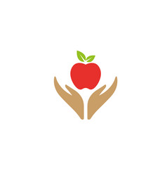 hands that care for food and nature hold apple vector image