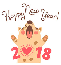 Happy 2018 new year card funny puppy vector