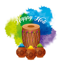 Happy holi dholak gulal powder explosion color vector