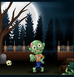 Happy zombie in the garden at night vector