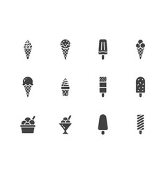 ice cream flat glyph icons set waffle cone ice vector image