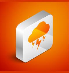 isometric storm icon isolated on orange background vector image