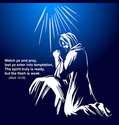 Jesus christ the son of god praying in the garden vector