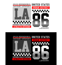 la california 86 typography for t-shirt vector image