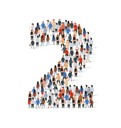 Large group people in number 2 two form vector