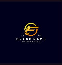 Letter c excavator logo design vector