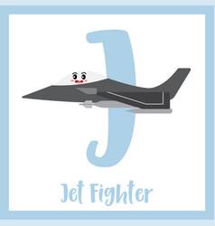 Letter j vocabulary jet fighter vector