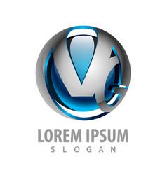logo concept design sphere tech initial letter vg vector image