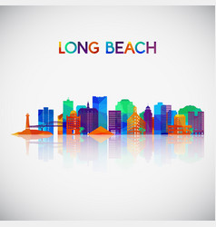 Long beach skyline silhouette in colorful vector