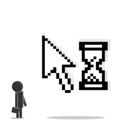 Man is standing near the cursor vector